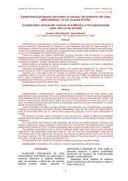Contaminarea produselor alimentare cu reziduuri de antibiotice din ...