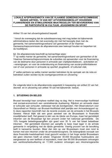 afsprakennota (pdf) - Vlaamse Gemeenschapscommissie