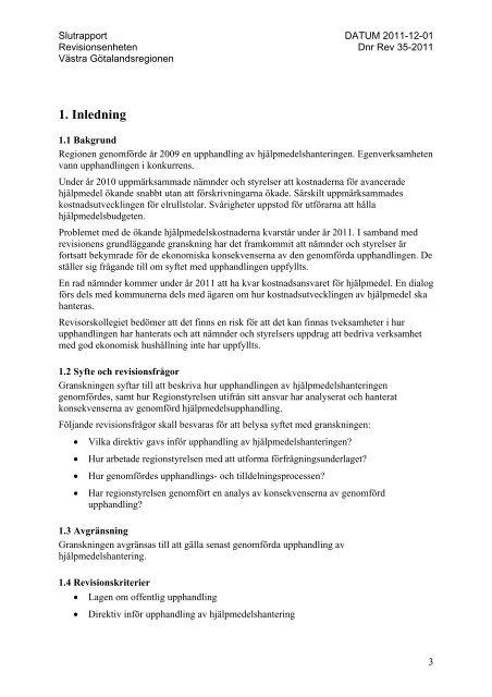 Förstudie av upphandlingen av hjälpmedel - Västra ...