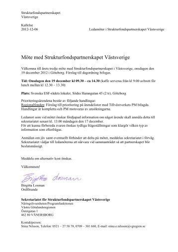 Strukturfondspartnerskapets möte 19 december, 2012 - Västra ...