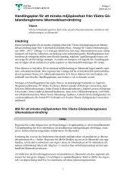 Handlingsplan för att minska miljöpåverkan från Västra Gö ...