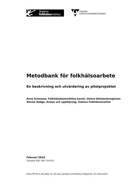 Metodbank för folkhälsoarbete - Västra Götalandsregionen
