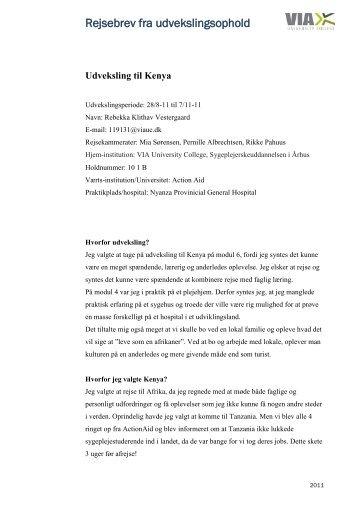 Læs Rebekkas rejsebrev her (pdf) - VIA University College