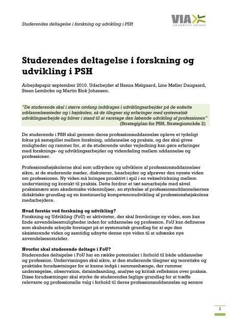 Studerendes deltagelse i forskning og udvikling i PSH