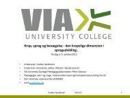 Grethe Sandholm - Krop, sprog og bevægelse - VIA University College