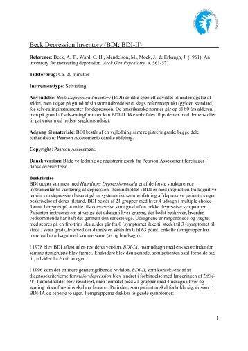 Beck Depression Inventory (BDI; BDI-II) - Nationalt Videnscenter for ...