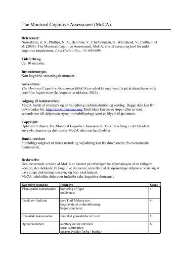 The Montreal Cognitive Assessment (MoCA) - Nationalt ...
