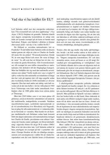Vad ska vi ha istället för EU? (pdf)