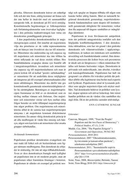 Populistisk demokrati – Sannfinländarnas idé om folkstyrelse (pdf)