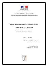 Rapport de maintenance DCSSI-2008/46-M01 - Agence nationale ...