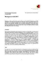 Musiques en été 2013 - Ville de Genève