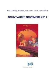 Liste bimestrielle novembre 2011 - Ville de Genève