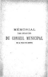 DU CONSEIL MUNICIPAL - Ville de Genève