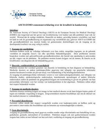 ASCO-ESMO consesus over de kwaliteit in Kankerzorg - American ...