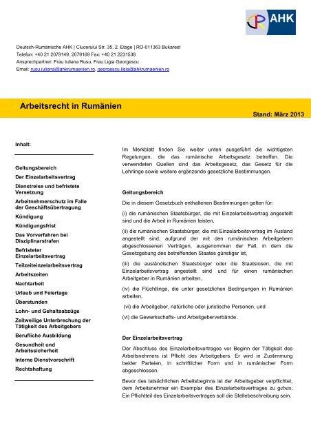 Arbeitsrecht In Rumänien Ahk Rumänien
