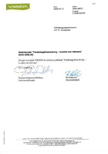 Forskningsfinansiering - Kvalitet och relevans - Vinnova