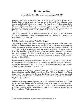 Divine Healing - Assemblies of God (USA)