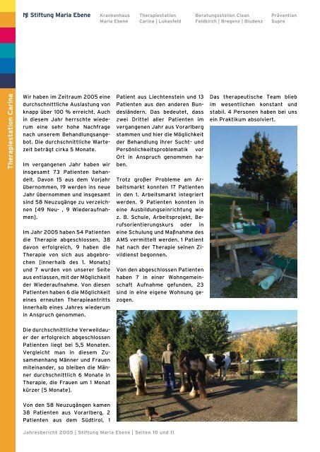 Jahresbericht 2005 - Stiftung Maria Ebene