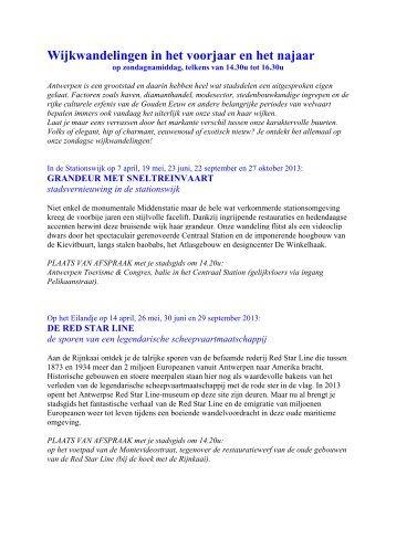 ZOMERWANDELINGEN 2009 - Visit Antwerpen