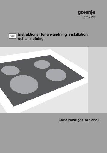 Instruktioner för användning, installation och anslutning