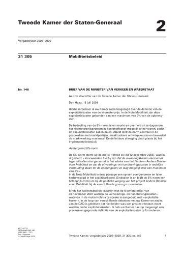 090713 brief van de Minister van Verkeer en Waterstaat