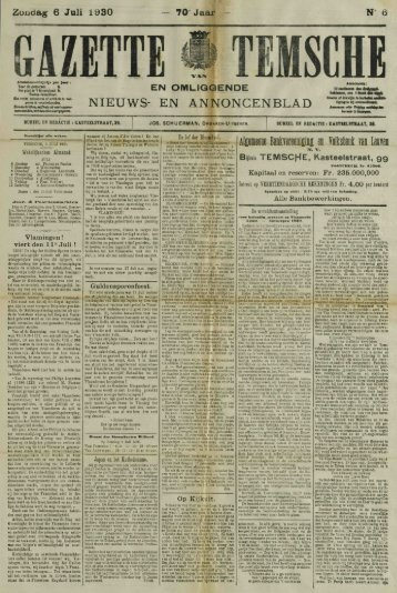 Zondag 6 Juli 1930