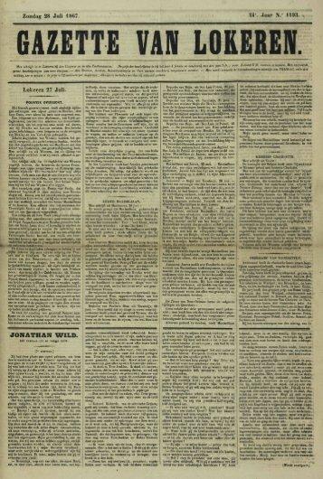"Zondag 28 Juli 1867. U\ Jaar N."" 1193. Lokeren 27 Juli. JONATHAN ..."