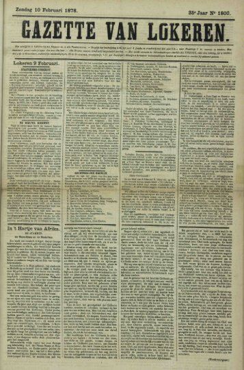 Zondag 10 Februari 1878. 35« Jaar N« 1800. Lokeren 9 Februari. In ...