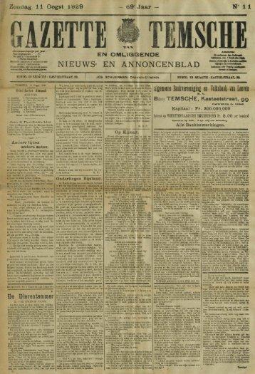 Zondag 11 Oogst 1929