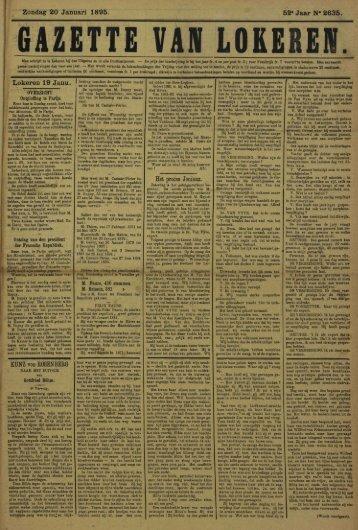 "Zondag 20 Januari 1895. 52"" Jaar N* 2635."