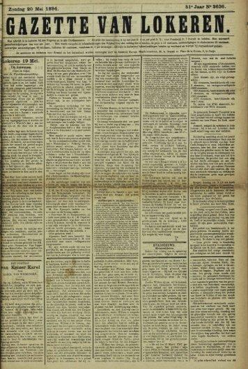 Zondag 20 Mei 1894. 51-Jaar N« 2636. Lokeren 19 Mei. an Keizer ...