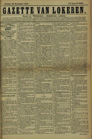Zondag 20 November 1910. 67* Jaar N» 3462. Bureel en ...