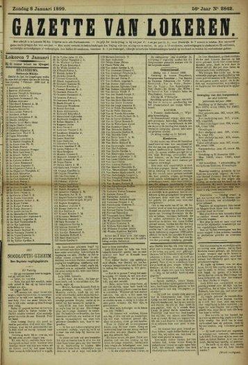 Zondag 8 Januari 1899. 56° Jaar N° 2842. Lokeren 7 Januari