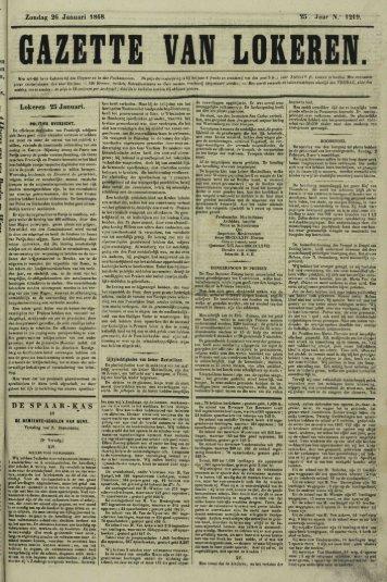 "Zondag 26 Januari 1868. 25. Jaar N."" 1219. Lokeren 25 Januari. DE ..."