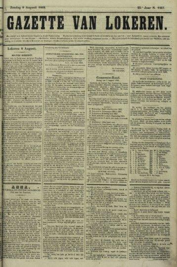 Zondag 9 Augusti 1868. 25.' Jaar N. 1247. Lokeren 8 Augusli ...