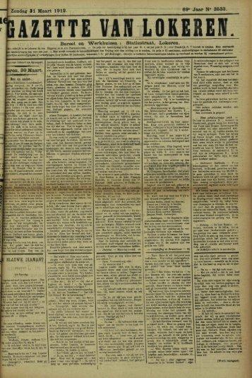"""Zondag 31 Maart 1912. 69* Jaar N"""" 3533. Bureel en Werkhuizen ..."""