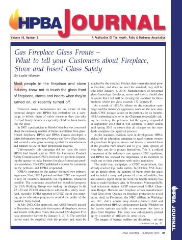 Factsheet fireplace safety - Hearth, Patio and Barbecue Association