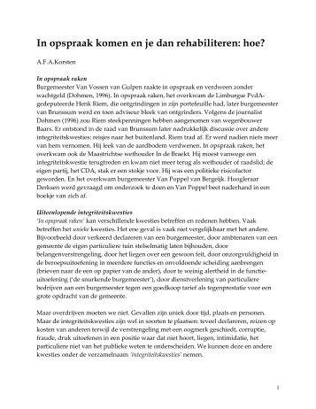 In opspraak komen en dan rehabiliteren: hoe - Prof. dr. AFA Korsten