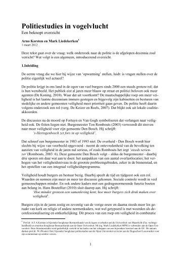 Politiestudies in vogelvlucht.pdf - Prof. dr. AFA Korsten
