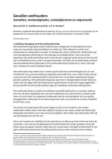 Sneuvelen van wethouders - Prof. dr. AFA Korsten