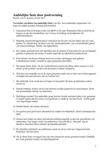 Voordelen en nadelen van ambtelijke fusie - Prof. dr. AFA Korsten