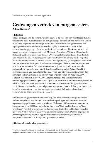 De val van burgemeesters - Prof. dr. AFA Korsten