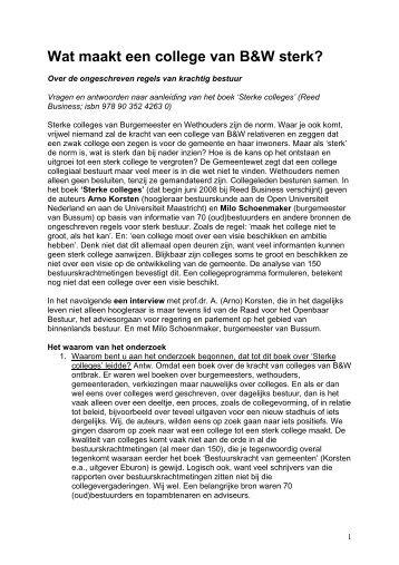 Wat maakt een college van B&W sterk - Prof. dr. AFA Korsten