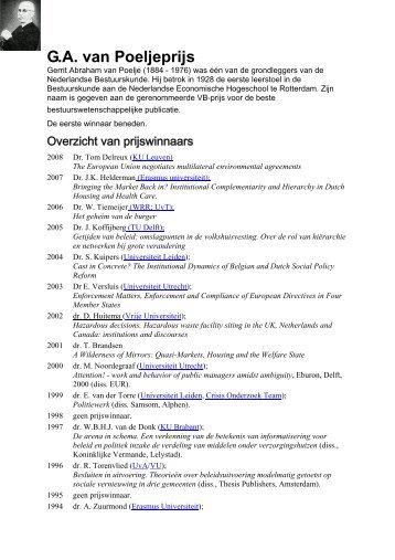 G.A. van Poeljeprijs - Prof. dr. AFA Korsten
