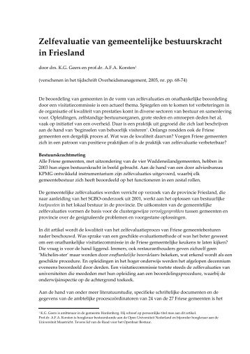 Zelfevaluaties door Friese gemeenten.pdf - Prof. dr. AFA Korsten