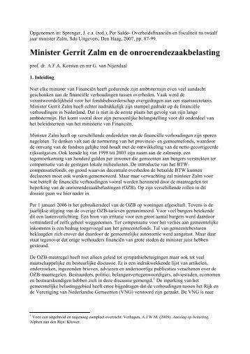 Minister Zalm en de onroerendezaakbelasting - Prof. dr. AFA Korsten