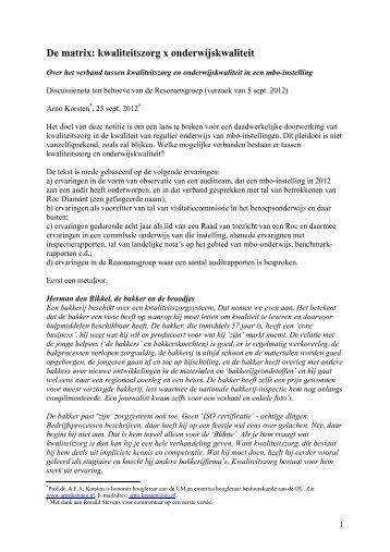 Kwaliteitszorg in mbo - Prof. dr. AFA Korsten