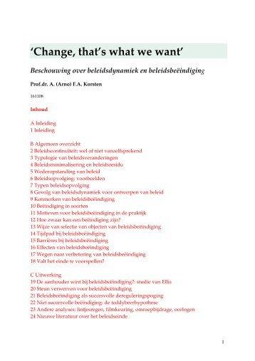 Beleid veranderen of stoppen - Prof. dr. AFA Korsten