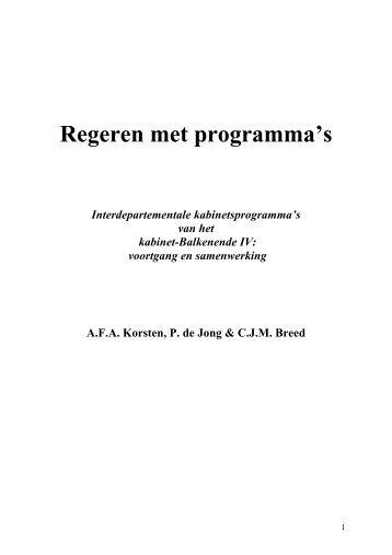 Regeren met programma's - Prof. dr. AFA Korsten