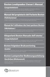 Boston Loudspeaker Owner's Manual - Boston Acoustics